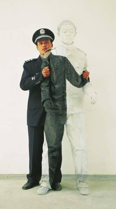 Liu Bolin Hiding in the City No. 16 Peoples Policeman 2006