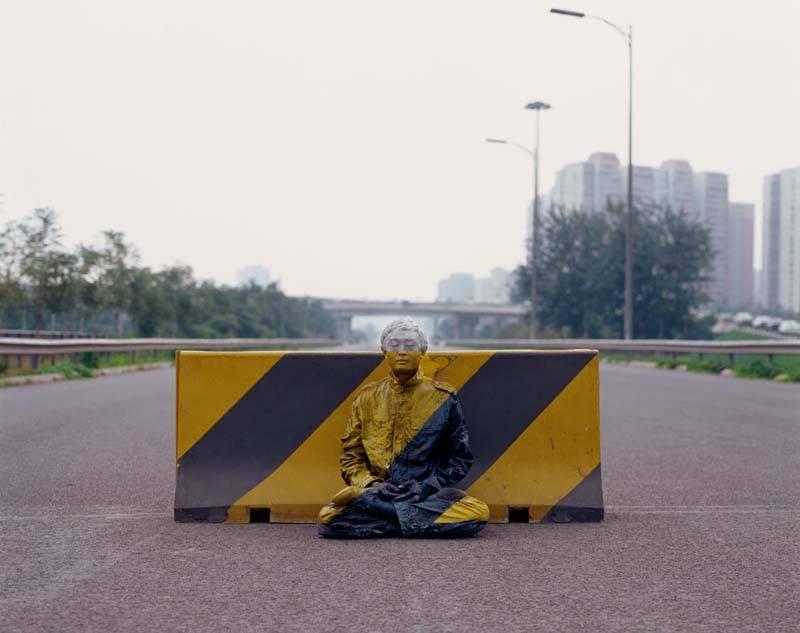 Liu Bolin Hiding in the City No. 51-Road Block 2007