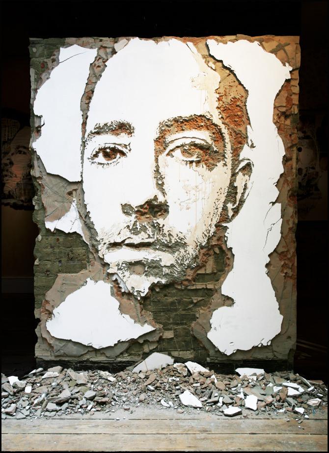 Alexandre Farto aka Vhils scratched wall murals