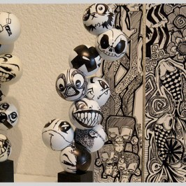 Ping pong ball totems – artist 2much quits smoking and saves some balls