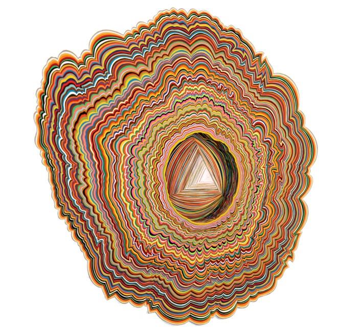 Jen Stark, Microscopic Entrance, hand-cut paper 2007