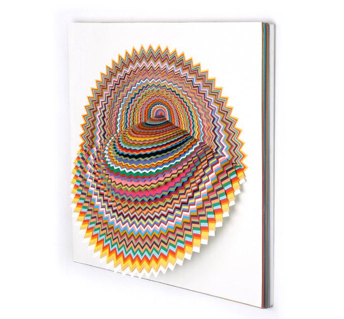 Jen Stark, Radial Reverie, hand-cut paper, 2008
