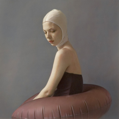 Figure with Purple Bustle 2004 hand painted gelatin silver print by Susan Fenton