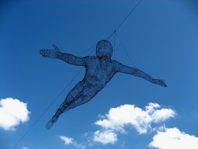 Flying Man Sculptures at N Seoul Tower in South Korea