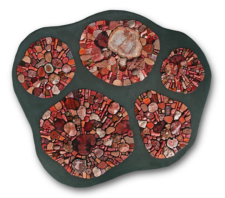 Outlier 2009 by Sonia King, glass, ceramic, marble, copper, gold, aragonite, coral, citrine, petrified palm wood, magnesite, smalti, pearls, pebbles, terracotta, vanadanite, seashells, bone, pumice, rhyolite, raku pottery