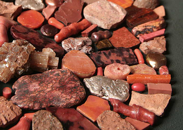 Outlier (detail) 2009 by Sonia King, glass, ceramic, marble, copper, gold, aragonite, coral, citrine, petrified palm wood, magnesite, smalti, pearls, pebbles, terracotta, vanadanite, seashells, bone, pumice, rhyolite, raku pottery