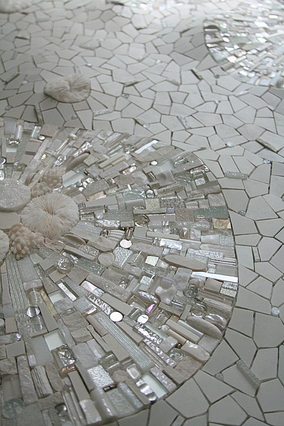 Permafrost (detail) 2009 by Sonia King, glass, ceramic, coral, white gold, smalti, quartz, silver, marble, rock crystal, seashell, pearls, aluminum, selenite, abalone, pebbles