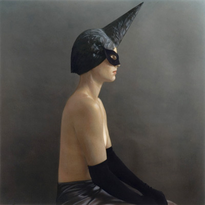 Profile with Horned Head Piece 2003 hand painted gelatin silver print by Susan Fenton