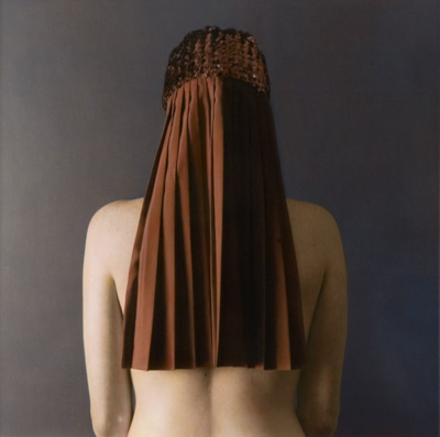 Red Pleated Back 2001 hand painted gelatin silver print by Susan Fenton