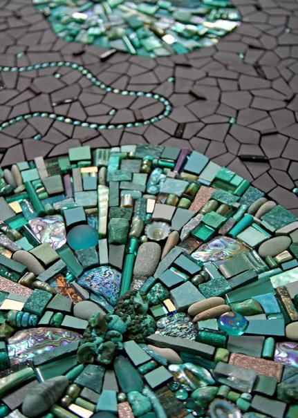 Spinoff (detail) 2007 by Sonia King, chrysocolla, malachite, amazonite, pearls, ceramic, glass, turquoise, smalti, paua shell, beach glass, pebbles, abalone, crystals, gold, labradorite
