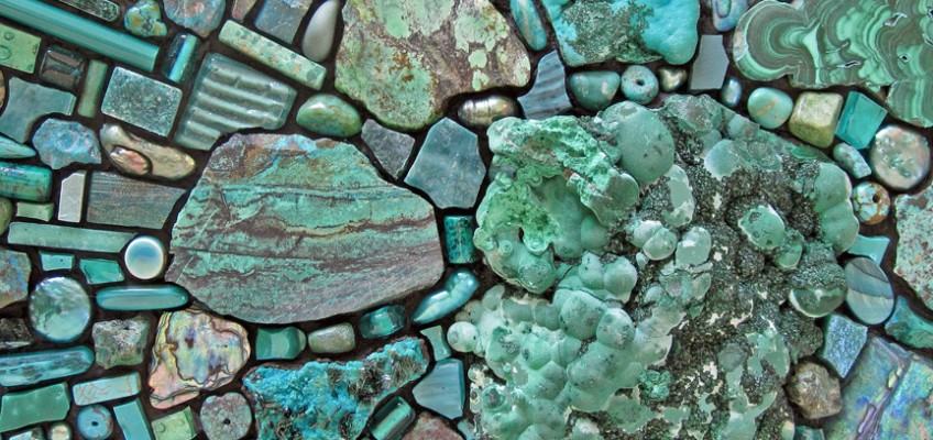 Work in Progress, 2010 by Sonia King, malachite, chrysocolla, smalti, glass, turquoise, amazonite, paua shell, and more