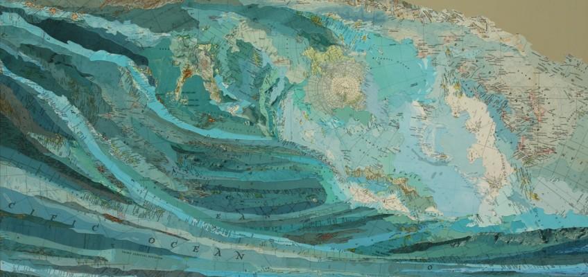 Kara's Wave, 2009, inlaid maps and acrylic on aluminum panel by Matthew Cusick