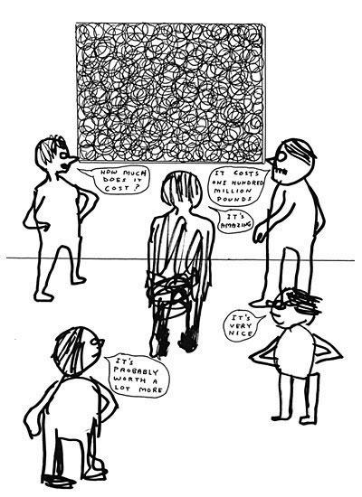 4 Art Lovers cartoon by David Shrigley