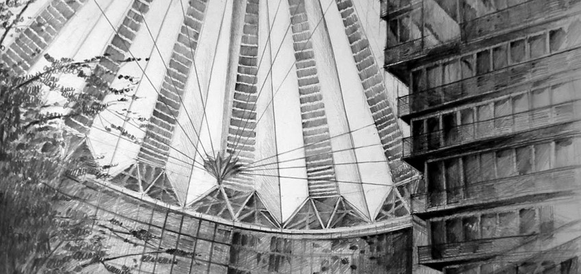 Architect Helmut Jahn, Sony Center, Berlin, drawing by Klara Ostaniewicz