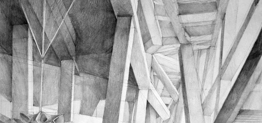 Architect Herzog & de Meuron, Beijing National Stadium, Beijing, drawing by Klara Ostaniewicz