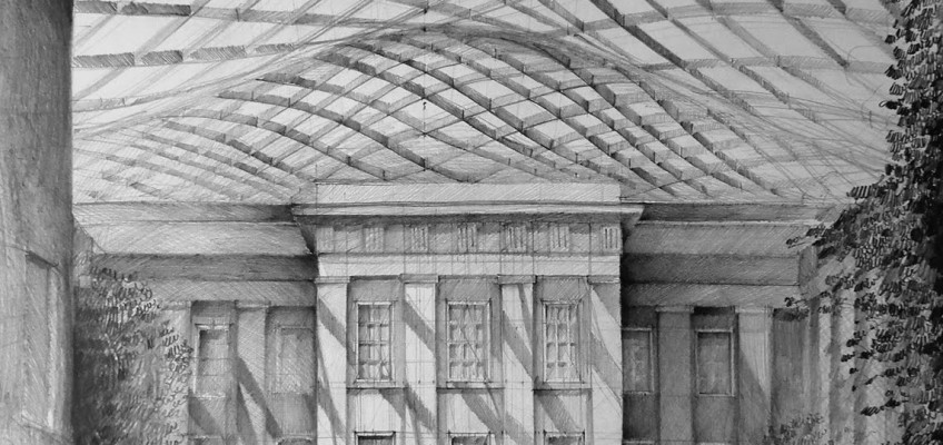 Architect Norman Foster, British Museum, London, drawing by Klara Ostaniewicz
