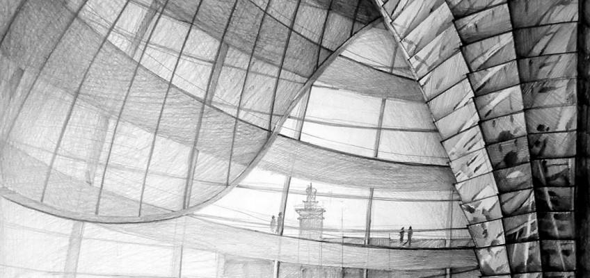 Architect Norman Foster, Reichstag, Berlin, drawing by Klara Ostaniewicz