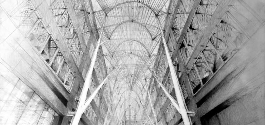 Architect Santiago Calatrava, Allen Lambert Galleria, Toronto, drawing by Klara Ostaniewicz