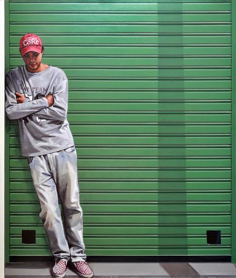 Personaje y poste, Acrílico sobre lienzo, painting by Pablo Guzman, 2010