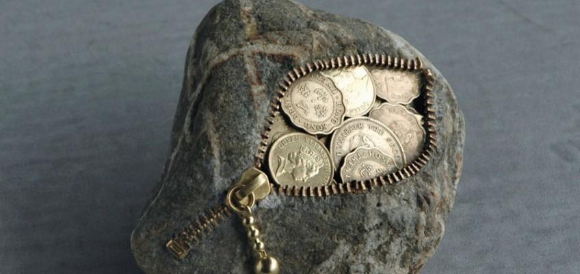 Coin, stone sculpture by Jiyuseki (Hirotoshi Itoh)