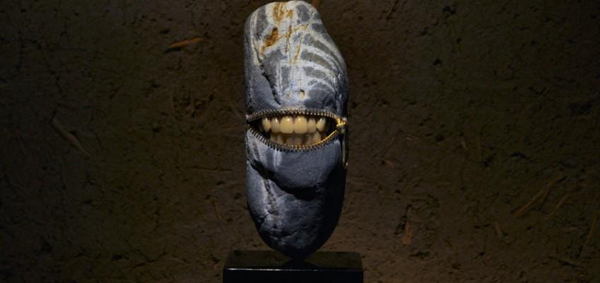 Laughing Stone 10, stone sculpture by Jiyuseki (Hirotoshi Itoh)