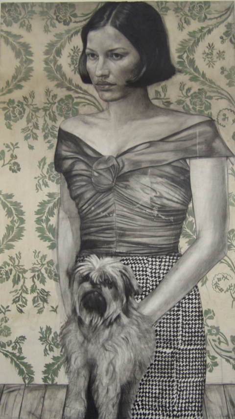 Muff 2008 pencil, watercolor, oil, wax by Jenny Scobel