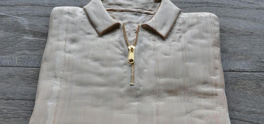 Zip Up Shirt, Marble sculpture by Jiyuseki (Hirotoshi Itoh)