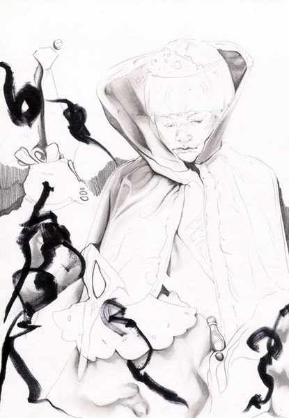 ink and pencil on paper 2008 by Maureen Gubia