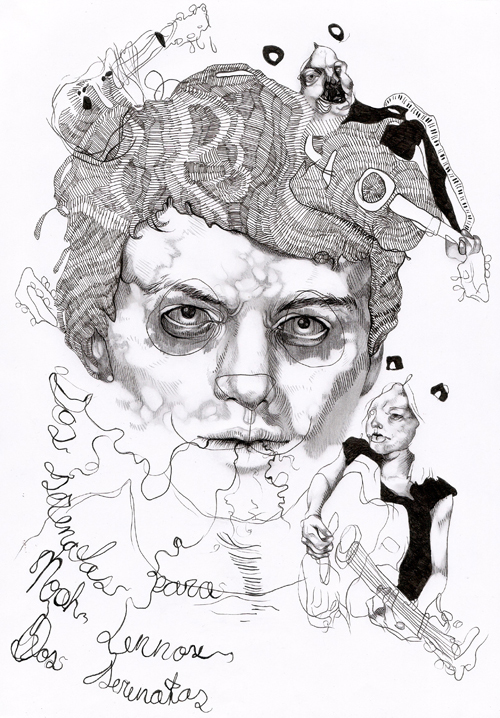 ink and pencil on paper, made for muscician panda bear_noah lennox 2005 by Maureen Gubia