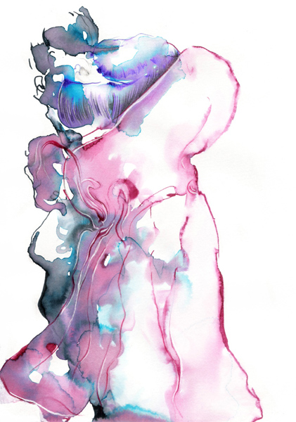water soluble markers, pastel tendre and pencil on paper 2008 by Maureen Gubia
