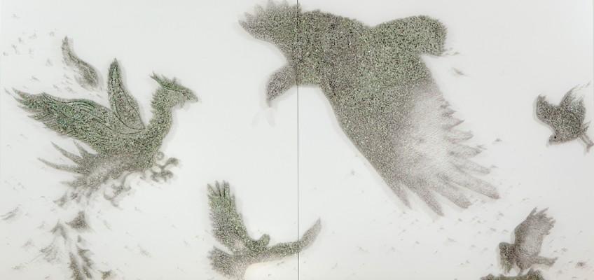 Reality Game, 2 panel, Pins, Beads, by Ran Hwang 2010