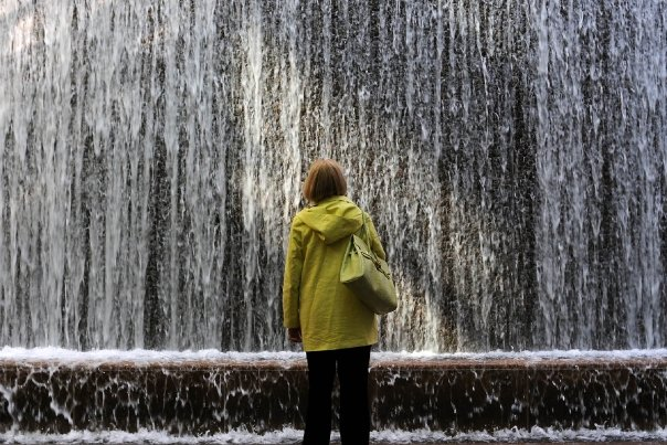 Waterfall woman, New York, NY, photograph by Jeff Colen