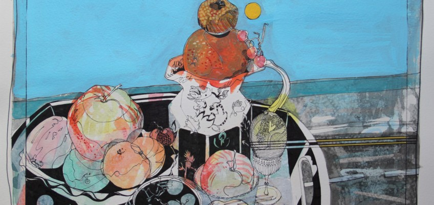 A Portable Still Life, Acrylic and lightfast pen on paper, James Hutchinson