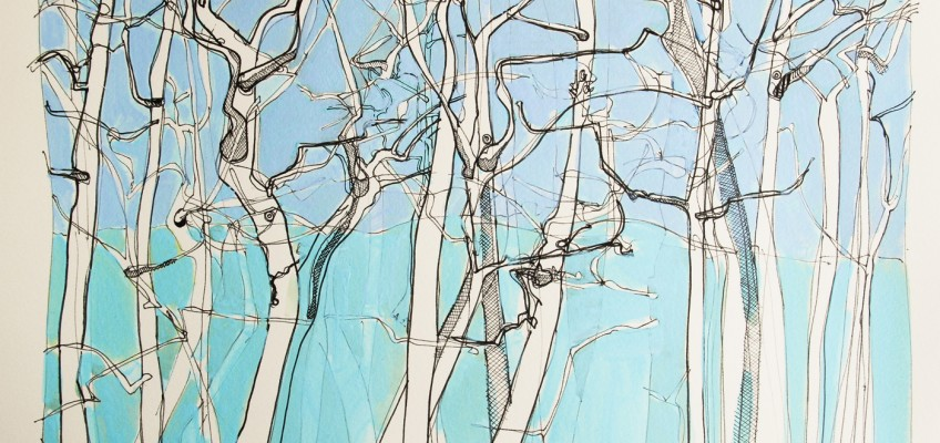 Got Carried Away in Porters Wood, Acrylic and Chinese ink on paper, James Hutchinson