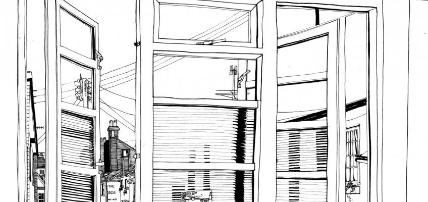 New Views Are Often Crossroads, Lightfast pen on paper, James Hutchinson