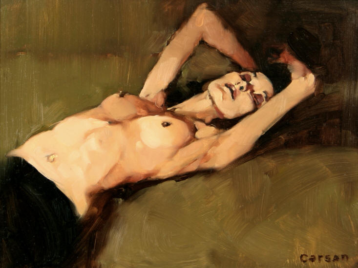 Morning Stretch, oil on canvas by Michael Carson