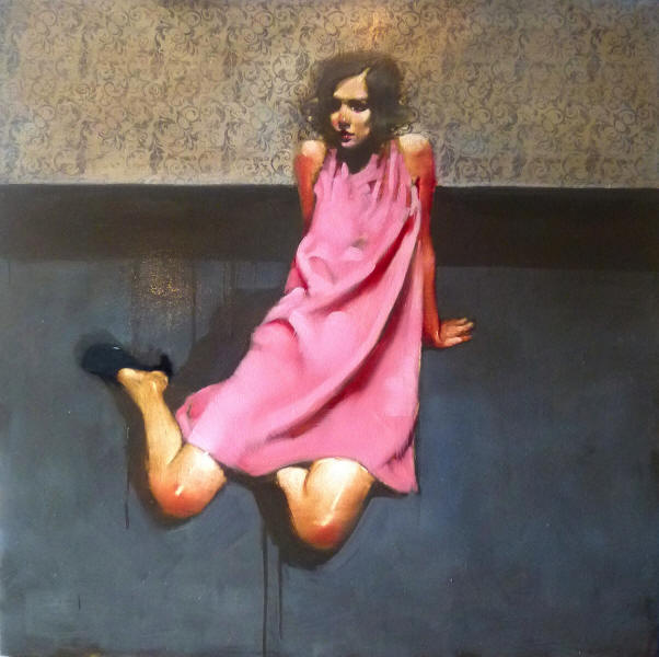Pink Dress, oil on canvas by Michael Carson