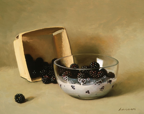 Black Berries and Cream, oil on canvas, by Jeffrey T. Larson