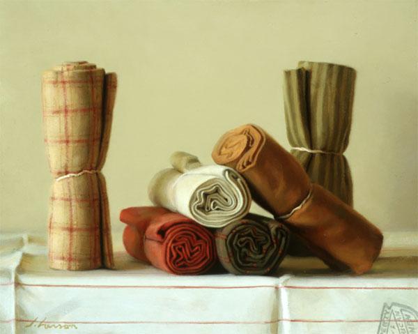 Fabric Rolls, oil on canvas, by Jeffrey T. Larson