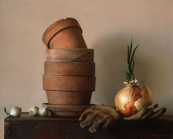 Garden Gloves, oil on canvas, by Jeffrey T. Larson