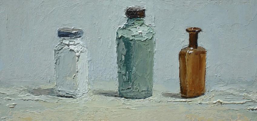 Green Glass, Jar, oil on panel by Brian Blackham