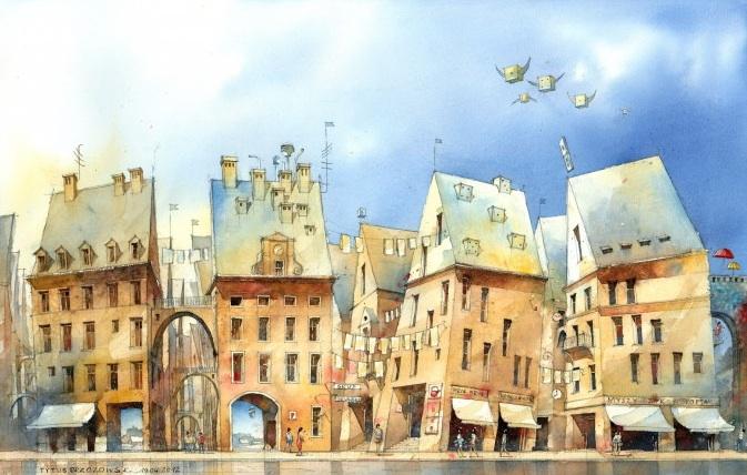 Houses for little Thomas 2012, watercolor by Tytus Brzozowski