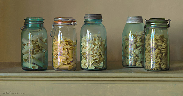 Jars of Pasta, oil on canvas, by Jeffrey T. Larson