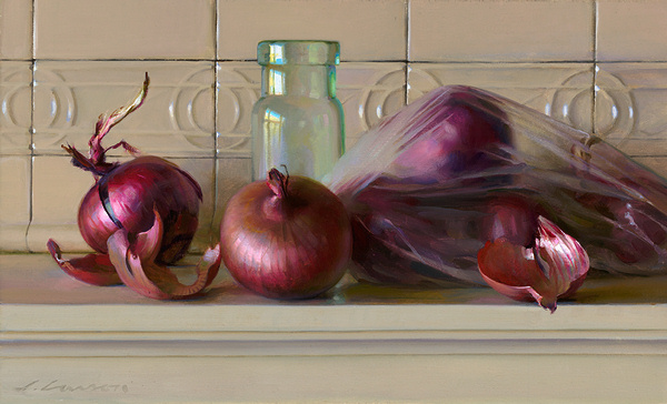 Onions and Plastic Bag,oil on canvas by Jeffrey T. Larson