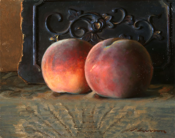 Peaches, oil on canvas, by Jeffrey T. Larson