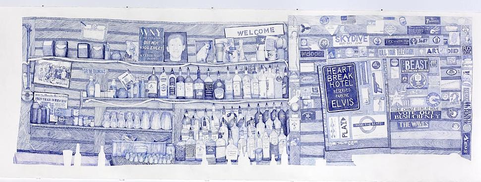 Back Bar, 2007, ink on paper, by Joan Linder