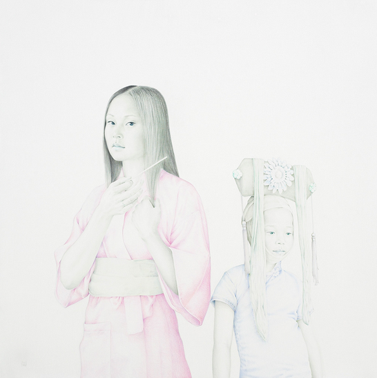 Changer La Vie (Tamara and Alba), natural pigments and acrylic resin on canvas, by Salustiano
