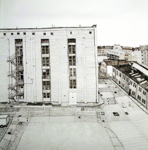 Oberschoneweide, 2000, ballpoint on paper, by Joan Linder