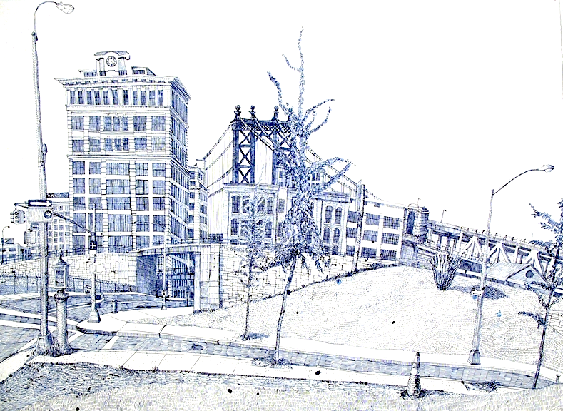 Washington and York, 2001, ballpoint on paper, by Joan Linder